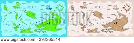 Pirate Map In Cartoon Style. Children Games, Treasure Hunt. Old Map With Treasure Hunt Route. Vector