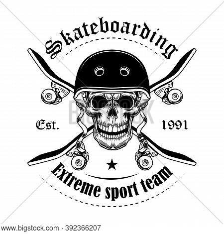 Skateboarder Skull Vector Illustration. Head Of Character With Crossed Skateboards And Text. Extreme