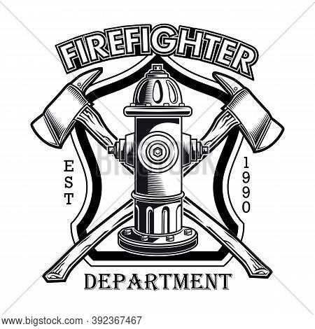 Firefighter Emblem With Hydrant Vector Illustration. Crossed Axes And Fire Dept Text. Rescue Concept