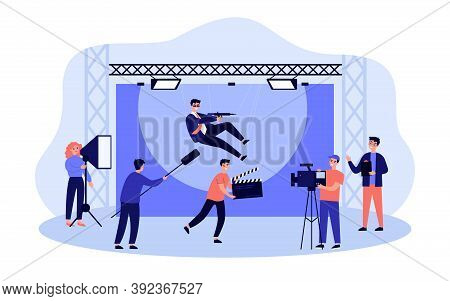 Crew Filming New Motion Movie Isolated Flat Vector Illustration. Cartoon Shooting Stunt Performer Fa