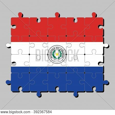 Jigsaw Puzzle Of Paraguay Flag In A Horizontal Of Red White And Blue, With The Coat Of Arms Of Parag