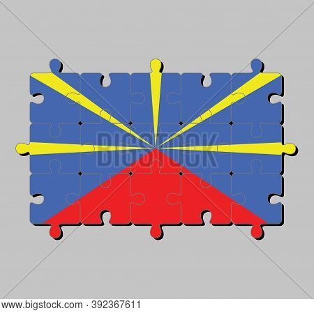 Jigsaw Puzzle Of Reunion Flag In Red Yellow And Blue Color. Concept Of Fulfillment Or Perfection.