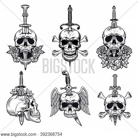 Black And White Knife Through Skull Vector Illustration Set. Monochrome Dead Head With Dagger Inside