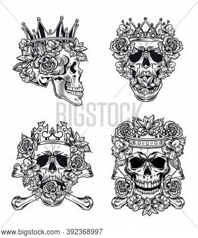 Vintage Royal Skulls With Crown Vector Illustration Set. Monochrome King Skulls In Crown With Roses.