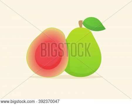 Guava Fruit Fresh Slice Juicy Vitamin Nutrition Fiber White Isolated Background With Flat Color