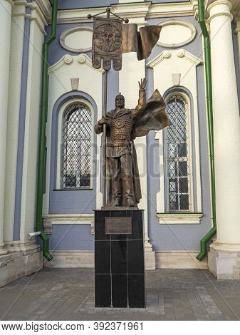 10.10.2020 Russia,tula. A Monument To The Great Russian Prince Dmitry Donskoy Standing In The Kremli