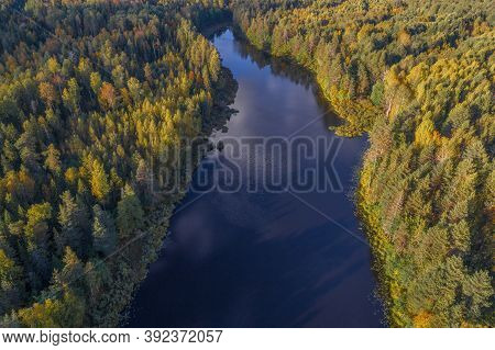 Over A Narrow Forest Lake On A Sunny September Day (aerial Photography). Kostroma Oblast, Russia