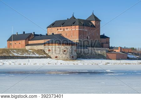 The Ancient Fortress Of Hameenlinna Is Close-up Against The Background Of A Blue Cloudless Sky. Spri