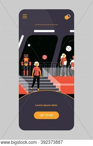 Interstellar Space Station Crew. Captain, Officers And Robot Monitoring Planets. Vector Illustration