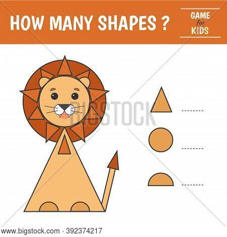 Educational Game For Kids. Geometrical Figure Lion. Count Circles, Triangles, Semi-circles. Preschoo