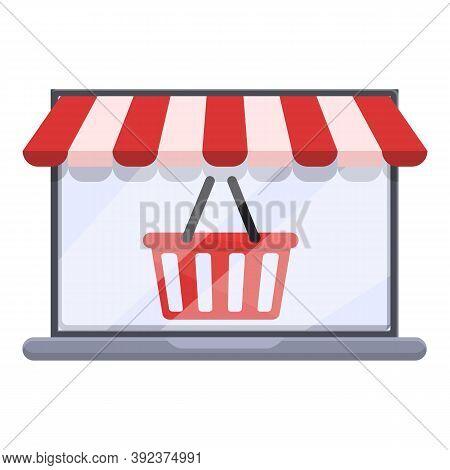 Shop Basket Online Shopping Icon. Cartoon Of Shop Basket Online Shopping Vector Icon For Web Design