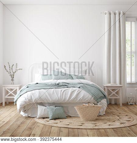 Light Farmhouse Bedroom Interior With Blank Wall, 3d Illustration