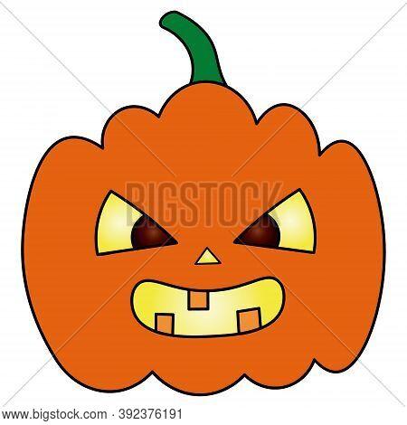 Pumpkin. Ominous Grimace. Jack-lantern. Colored Vector Illustration. Halloween Symbol. Isolated Whit