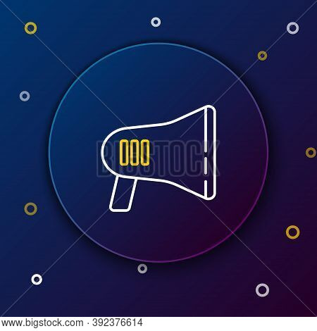 Line Megaphone Icon Isolated On Blue Background. Loud Speach Alert Concept. Bullhorn For Mouthpiece