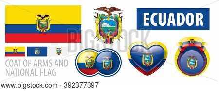 Vector Set Of The Coat Of Arms And National Flag Of Ecuador