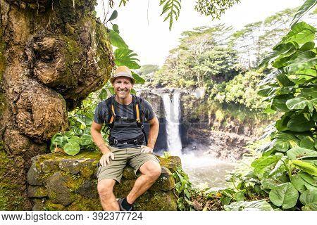 A Man At The Rainbow Falls, Hilo, Wailuku River State Park, Big Island, Hawaii
