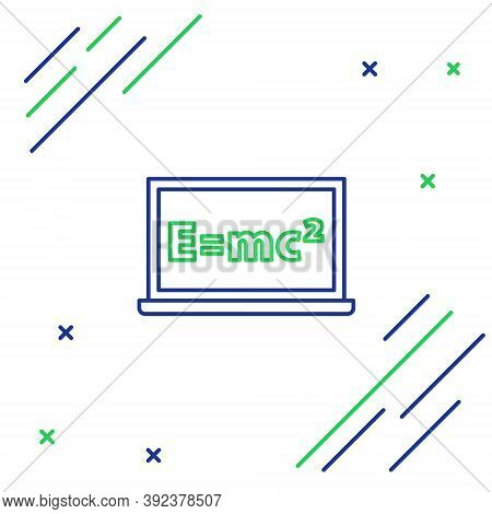 Line Math System Of Equation Solution On Chalkboard Icon Isolated On White Background. E Equals Mc S