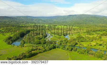 Tropical Landscape With Farmland And Green Hills, Aerial Drone. Philippines, Mindanao