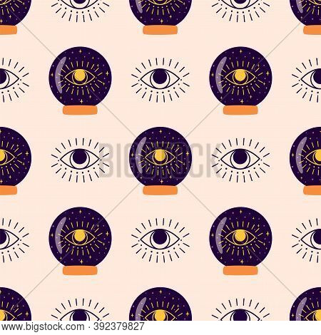 Magic Crystal Ball Pattern, Fortune Eye. Crystal Ball Future Hand Drawn Seamless Background Esoteric
