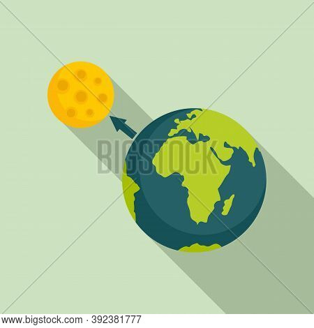 Earth Moon Gravity Icon. Flat Illustration Of Earth Moon Gravity Vector Icon For Web Design