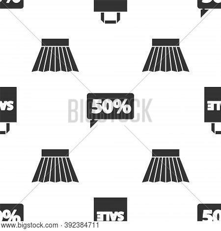 Set Shoping Bag With Sale, Fifty Discount Percent Tag And Skirt On Seamless Pattern. Vector