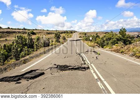 The Damaged Asphalt Road Crater Rim Drive In The Hawaii Volcanoes National Park After Earthquake And