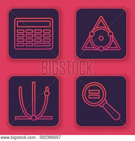 Set Line Chalkboard, Ringing Bell, Chalkboard And Paper Clip. Blue Square Button. Vector