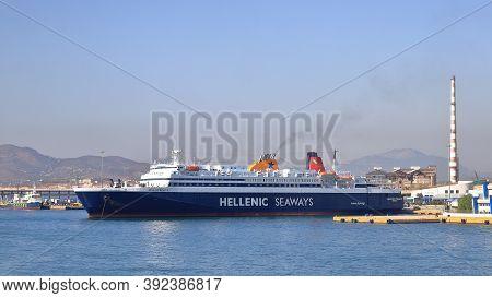 Piraeus, Greece - October 15:  The Hellenic Seaways Ro-ro Passenger Ship Nissos Rodos, Docked In Pir