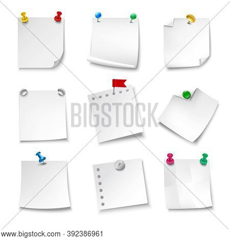 Blank Note Papers Pinned With Pushpins Realistic Set Isolated Vector Illustration