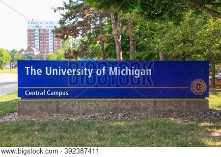 ANN ARBOR, MI - AUGUST 09,2020: University of Michigan's Central campus board at the entrance, Central Campus was the original location of U-M when it moved to Ann Arbor in 1837