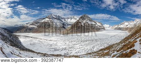Aletsch Glacier Seen From Close Up Below Bettmerhorn. Panoramic View Of Glacier Stretching Through T