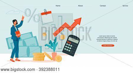 Business Woman Analysing Financial Data Lat Vector Illustration.