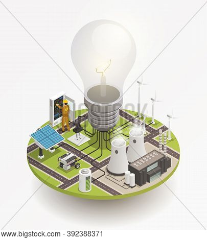 Electric Power Production And Consumption Isometric Composition With Windmill Solar Cell Panels And