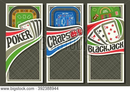 Vector Set Of Gambling Layouts With Copy Space, 3 Decorative Leaflets With Illustration Of Gambling