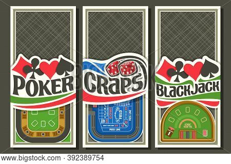 Vector Set Of Gambling Layouts With Copyspace, 3 Decorative Leaflets With Illustration Of Gambling T