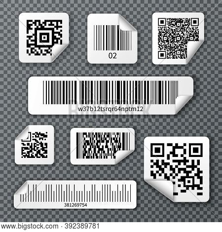 Set Of Stickers Qr And Linear Bar Codes With Bent Corner On Transparent Background Isolated Vector I