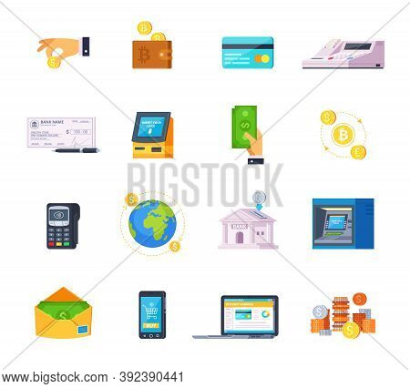 Financial Technology Orthogonal Flat Icons Set With Credit Cards Online Banking And Automated Teller