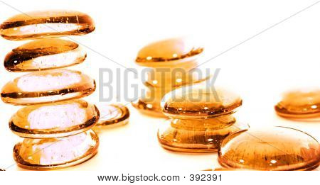 lot of orange pills - towers. macro & isolated on white poster
