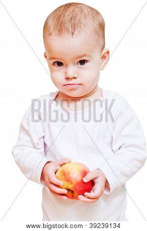 Babymädchen mit gesunden Lebensmitteln isoliert