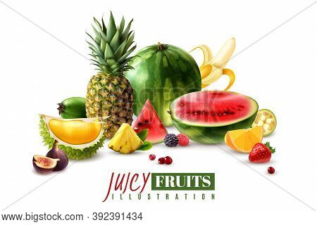 Fresh Juicy Fruits Whole And Serving Pieces Wedges Slices Realistic Composition With Watermelon Fig