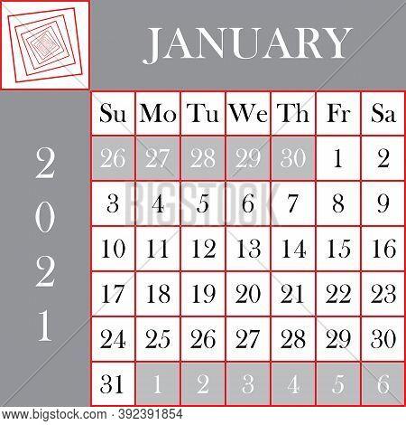 Square Format 2021 Calendar January Gray White Background Designer Cut