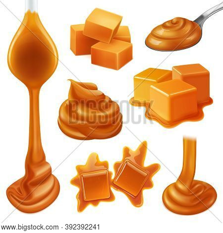 Realistic Caramel Candies Icon Set With Creamy Liquid And Creamy Drops Of Caramel Vector Illustratio