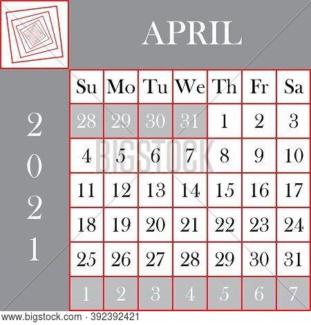 Square Format 2021 Calendar April Gray White Background Designer Cut