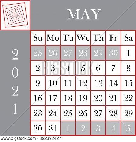 Square Format 2021 Calendar May Gray White Background Designer Cut