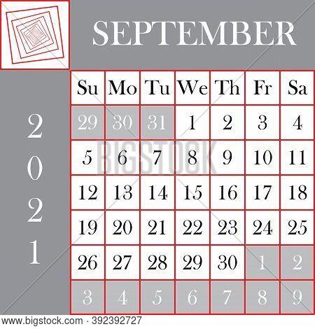 Square Format 2021 Calendar September Gray White Designer Cut