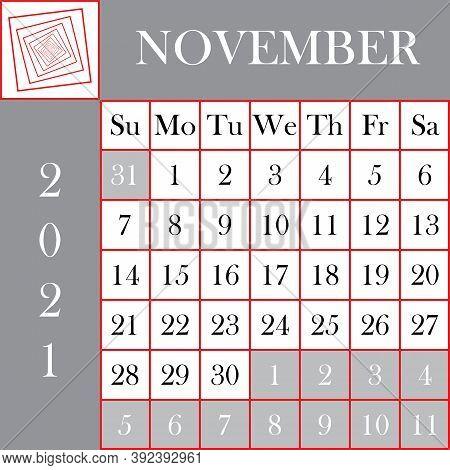 Square Format 2021 Calendar November Gray White Background Designer Cut