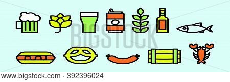 Set Of Bavarian Food Cartoon Icon Design Template With Various Models. Vector Illustration Isolated
