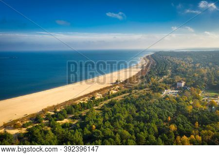Baltic Sea and the Stogi beach in autumnal colors, Gdansk. Poland