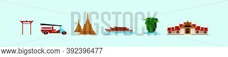 Set Of Bangkok Or Thailand Symbol Cartoon Icon Design Template With Various Models. Vector Illustrat