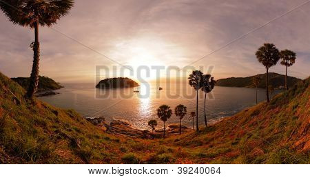 Panorama of tropical coast with beach,  palm trees and island in calm blue sea. Nai Harn beach area of Phuket. Thailand poster